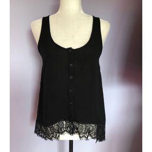 Kirra button up black sleeveless blouse